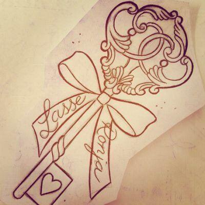 Bildergebnis für heart skeleton key tattoo