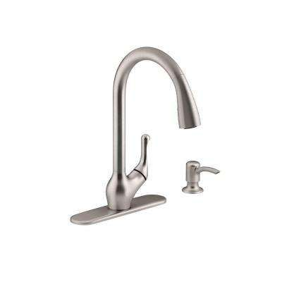 Barossa Single-Handle Pull-Down Kitchen Faucet in Vibrant Stainless with Soap/Lotion Dispenser and DockNetik