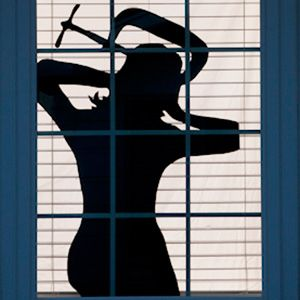 spooky window silhouettes for Halloween of woman with clamped head - woohoo found a new silhouette for Halloween!!!
