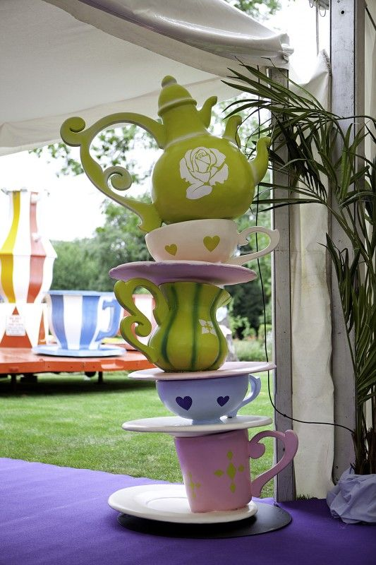 Giant Alice Crockery Stack In Wonderland Party Theme