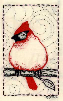 Angry Red Bird Embroidery bu Andrea Zuill