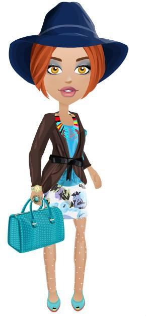falda estampada fondo blanco, flores azules, top de seda con breteles drapeado color turquesa , abrigo en terciopelo color chocolate con lazo,zapatos y cartera de cuero al tono,accesorios acordes