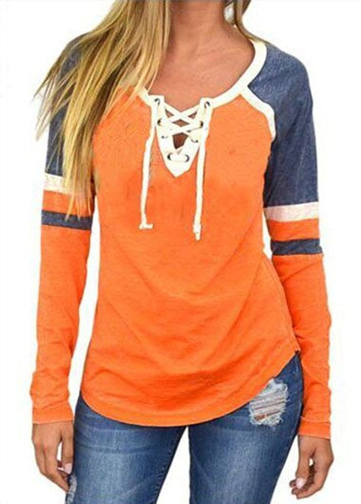 Famulily Women s Lace Up Front Long Sleeve Tops Striped Crew Neck Raglan  Baseball Tee Shirt  25d6c2ae8