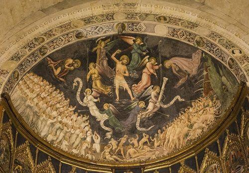 Tuomiosunnuntai. Nicolàs Florentino, 1445, Viimeinen tuomio, Salamancan katedraalin pääalttari. Salamanca, Espanja. Valokuva: Marco Peretto.