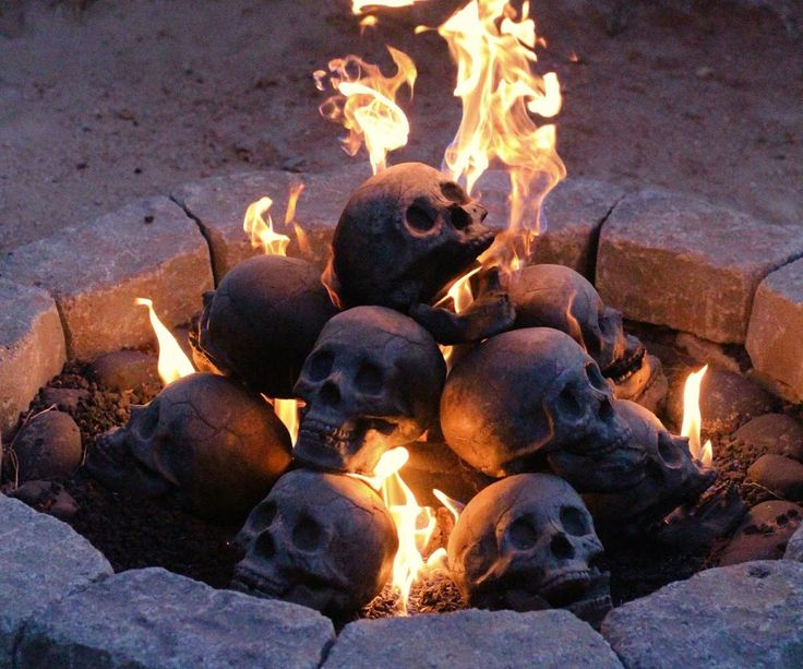 skull gas fireplace logs