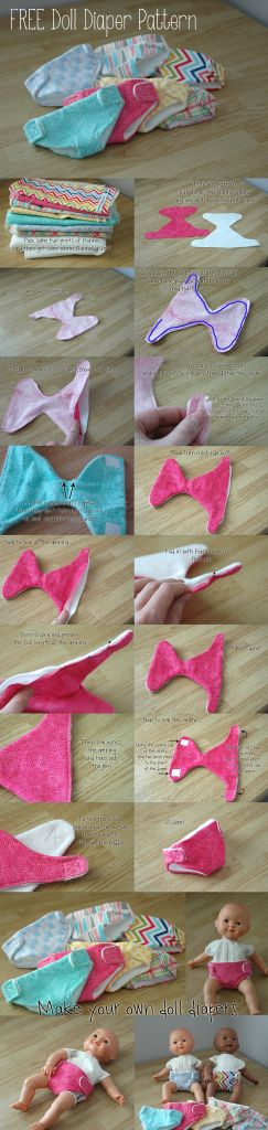 How to make doll diapers, Free pattern