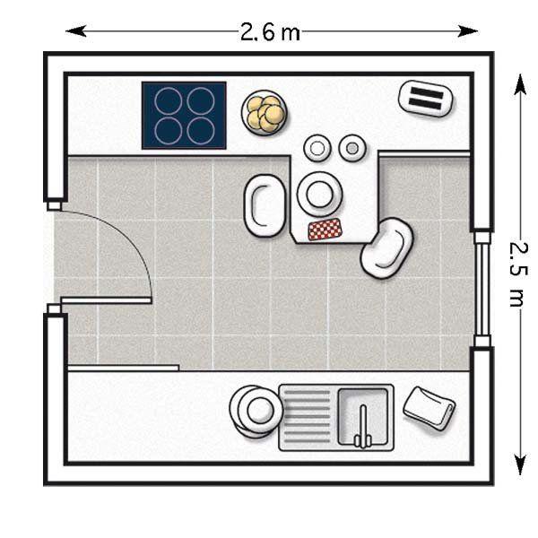 Plano de cocina pequeña con barra volada