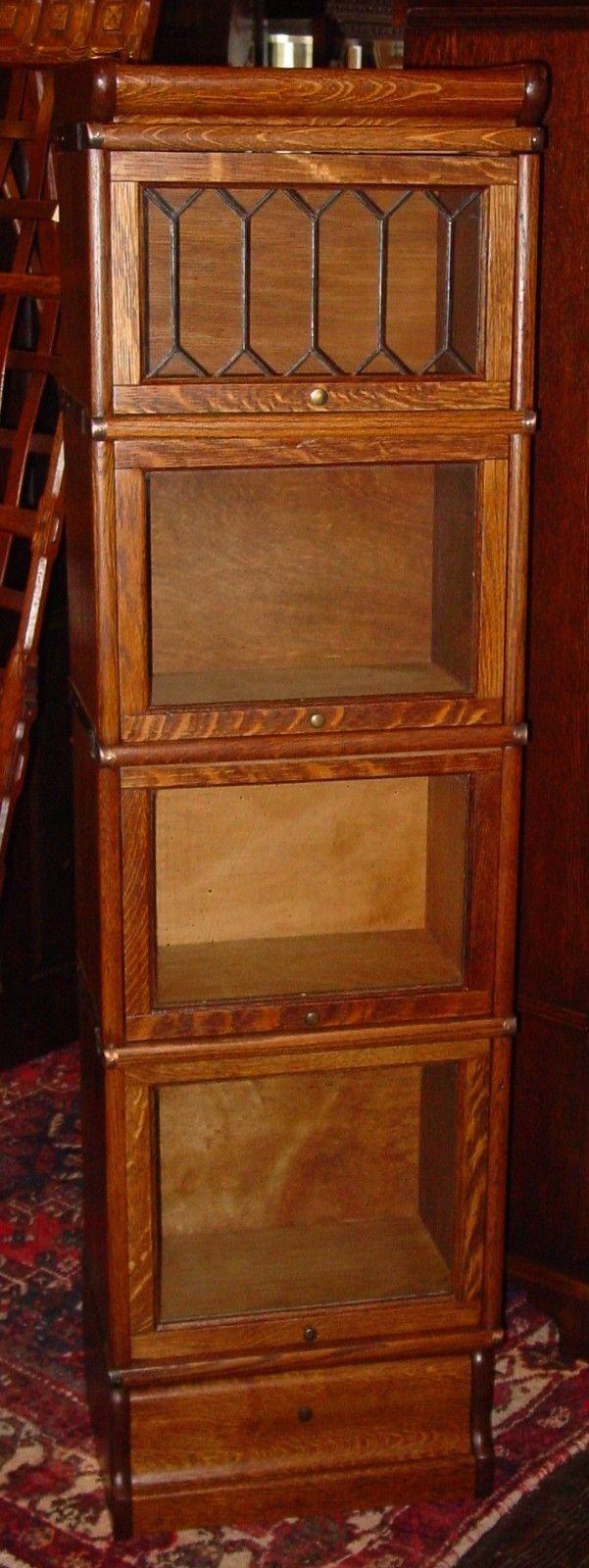 Cute Quartered Quarter Sawn Oak Half Size Barrister Bookcase Leaded Glass 15266 | eBay