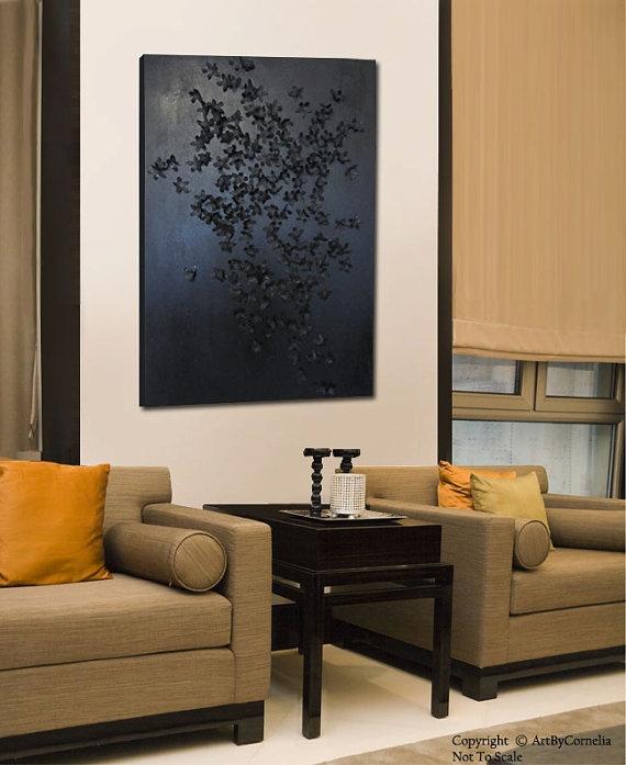 Black Textured Flower Painting by ArtByCornelia on Etsy, $399.00