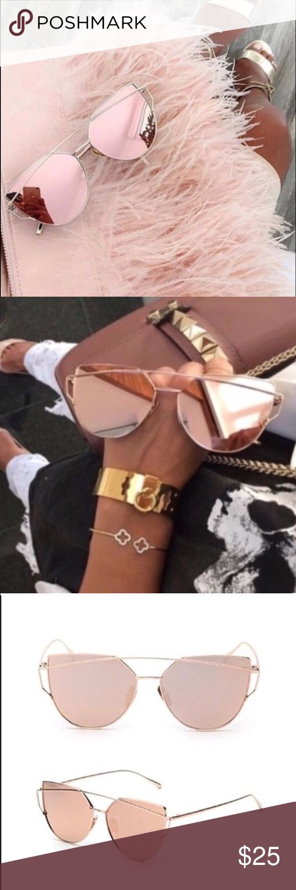 Rose 🌹 Gold Mirrored Sunglasses Brand New and Top quality! Gorgeous Rose Gold Mirrored Sunglasses. Cat Eye Aviator.💝 Color: Pink and gold. Accessories Glasses