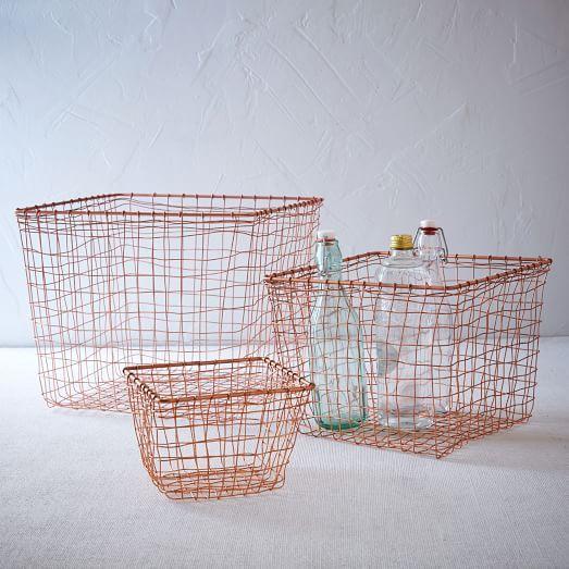 "Wire Mesh Basket - Copper | west elm | Small: 7""sq. x 5""h. Medium: 11.5""sq. 8.5""h. Large: 14.5""sq. x 11.5""h. -- for under bathroom sink?"