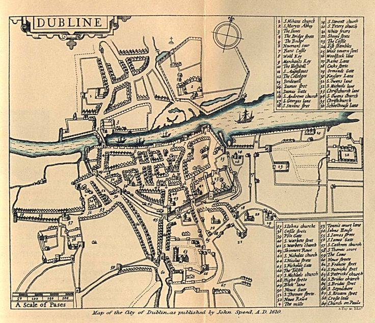 Historical Maps of Europe. Dublin 1610 (306K) From Dublin Som Norsk by L.J. Vogt, H. Aschehoug and Co. 1896.