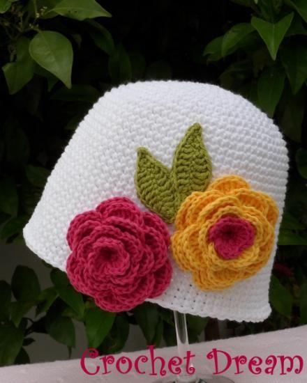 dos rosas , gorro para niña tejido a crochet - artesanum com