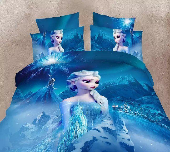 Blue Color Frozen Elsa Bedding Set Girlu0027s Childrenu0027s Bedroom Decor Single  Twin Size Bed Sheets Quilt