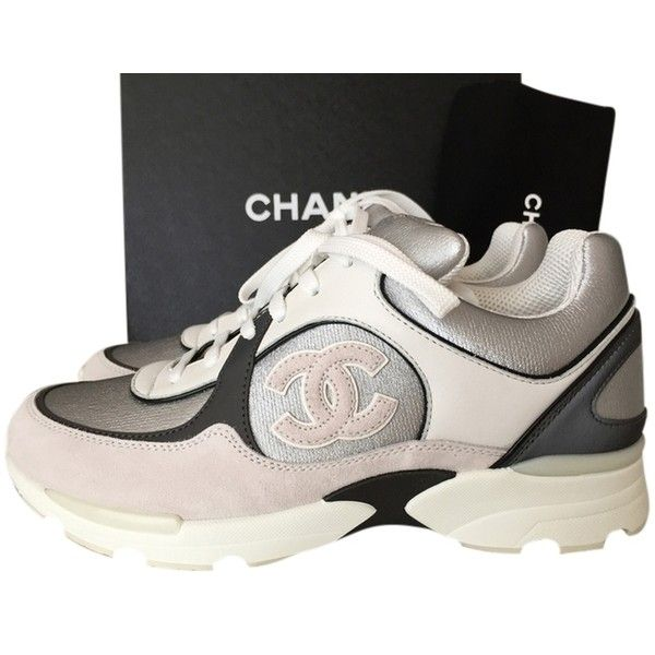 Pre-owned Chanel 2015 Cc Logo Sneakers Tennis Trainers Size 37.5 White Athletic featuring polyvore, fashion, shoes, sneakers, white, leather tennis shoes, leather trainers, tenny shoes, leather sneakers and genuine leather shoes