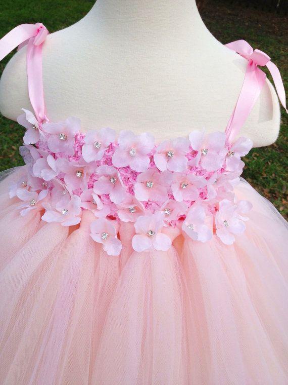 Blush hydrangea tutu dress flower girl by MissSweetPeaBoutique