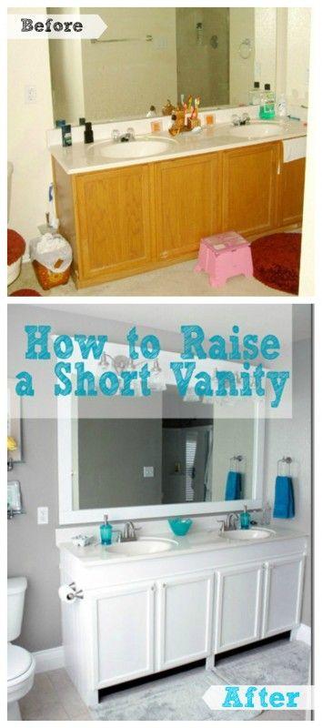 How to Raise a Short Bathroom Vanity Tutorial remodelaholic.com #bathroom #vanity #updated