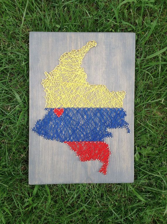 Colombia Colombian Flag Country String Art Home by SheFlutters