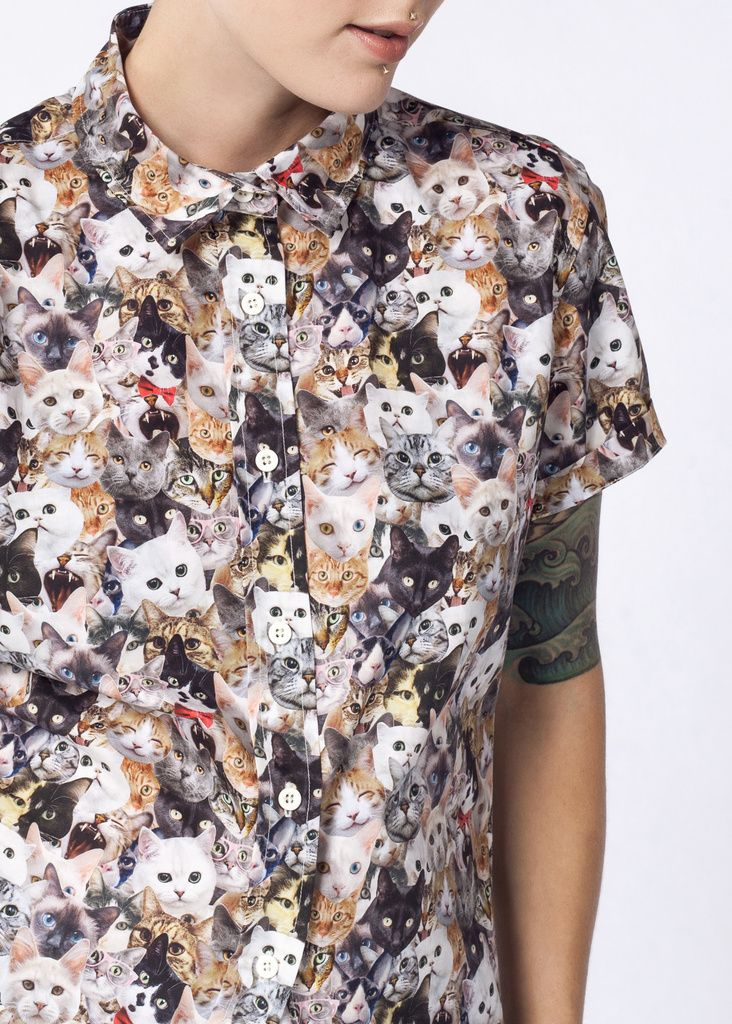 Ultimate Wf Cat Button Up Button Up Buttons Short Sleeve Button Up