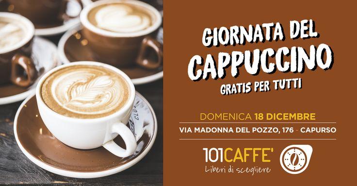 101CAFFE' Capurso ti offre un cappuccino a regola d'arte! L'aroma di un buon caffè artigianale unito alla cremosità della schiuma di latte.