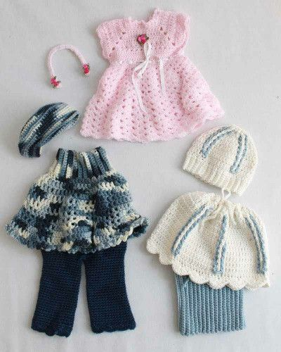 "18"" Dolls Abby, Allie and Annie Outfit Crochet Patterns"