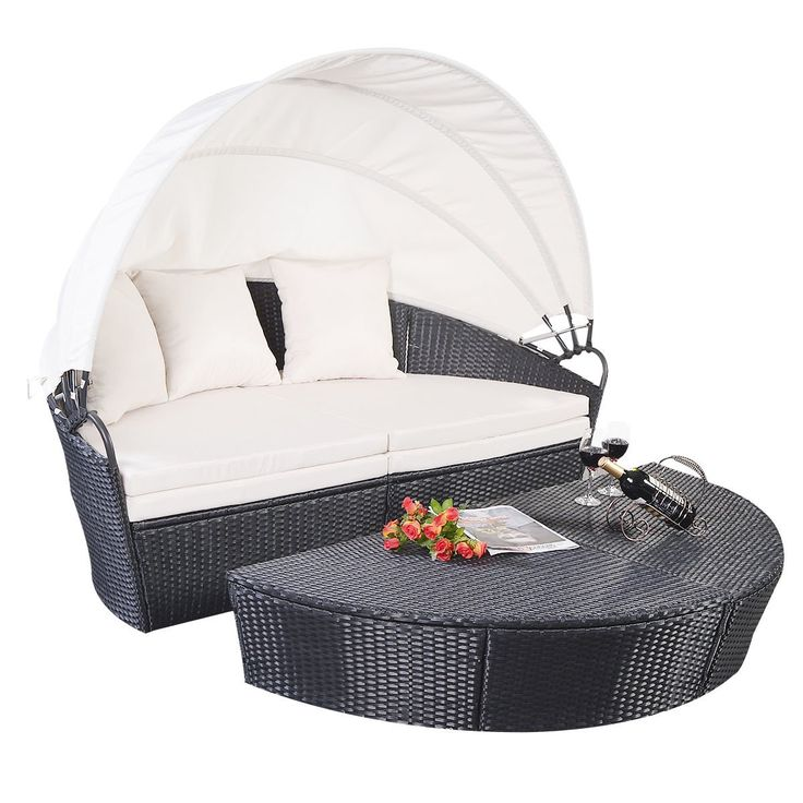 Black Wicker Rattan Outdoor Patio Sofa Furniture Round Retractable Canopy  Daybed