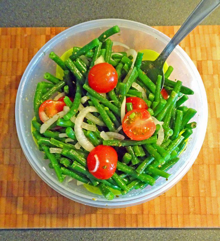 salade sperziebonen prinsessenbonen boontjes cherry tomaatjes ui fris zomers recept gezond