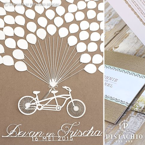 Wedding Guest book wooden board with bicycle and baloons by www.pistachiodesigns.co.za