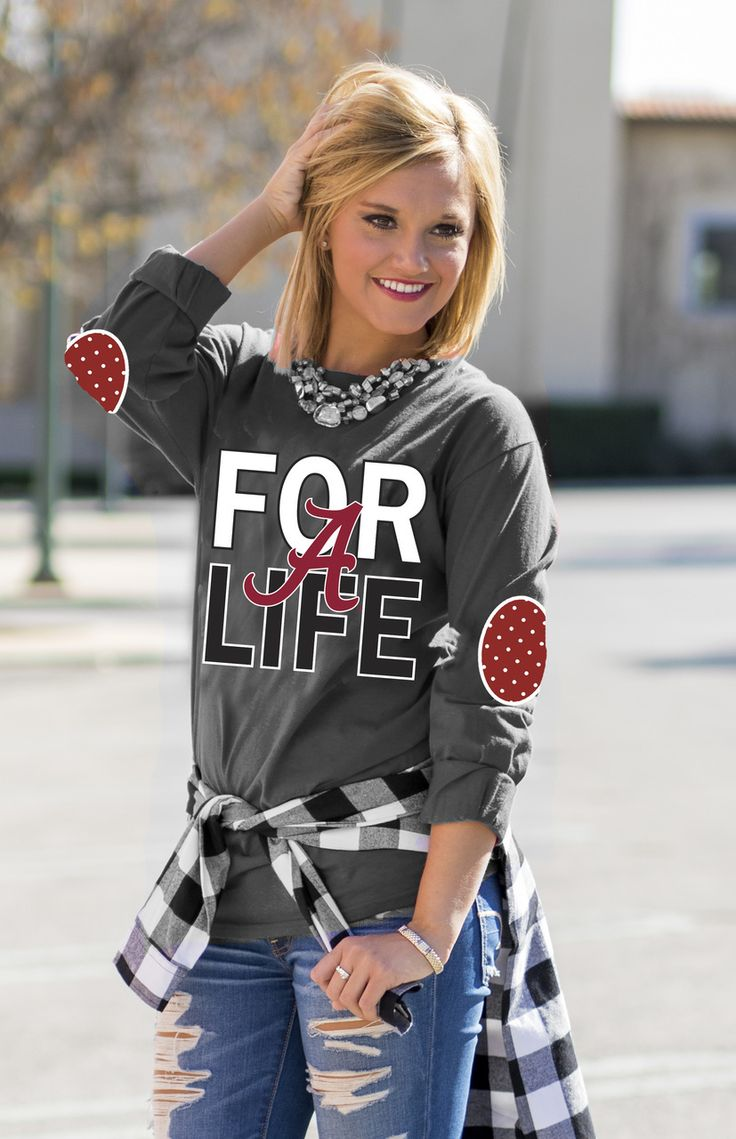 ALABAMA 'FAN FOR LIFE' ELBOW PATCH TEE GRAY Gameday