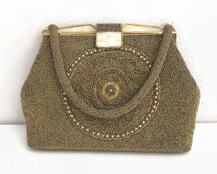 Gold and bronze beaded handbag with Lucite mother of pearl top and clasp, fancy pattern on both sides, hand made in Hong Kong, 1960s by CardCurios on Etsy