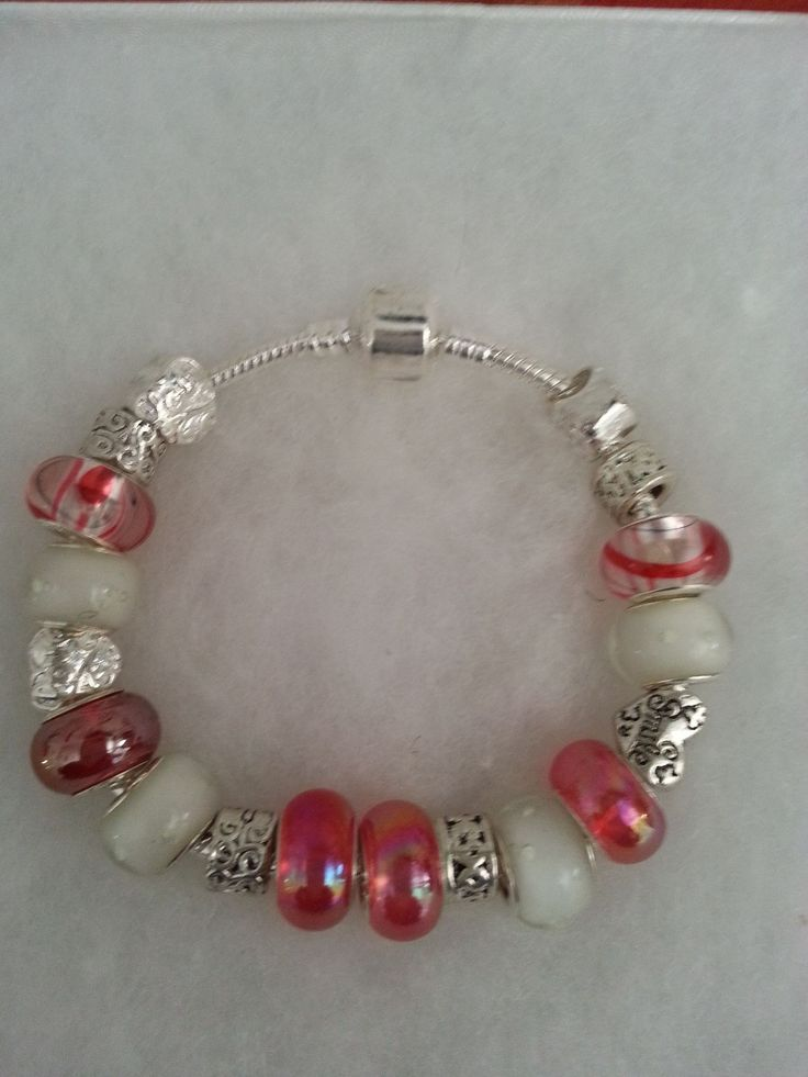 BAB 290 .925 Silver Pandora Style Charm Bracelet with 18 Beads