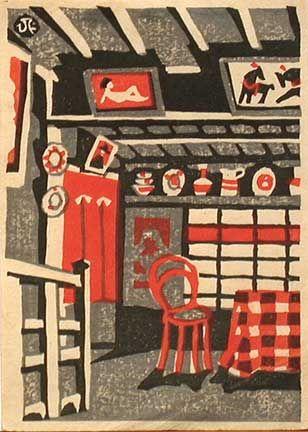"""Interior"" by Kawanishi Hide, an original woodblock print."