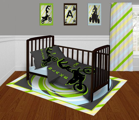 The ever popular Motocross Bedding or Dirt Bike Bedding, now available in Toddler size!