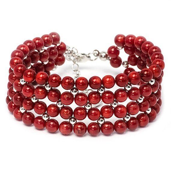 Beaded Red Coral Bracelet Gemstone Bracelet Rhodium by MYNESS