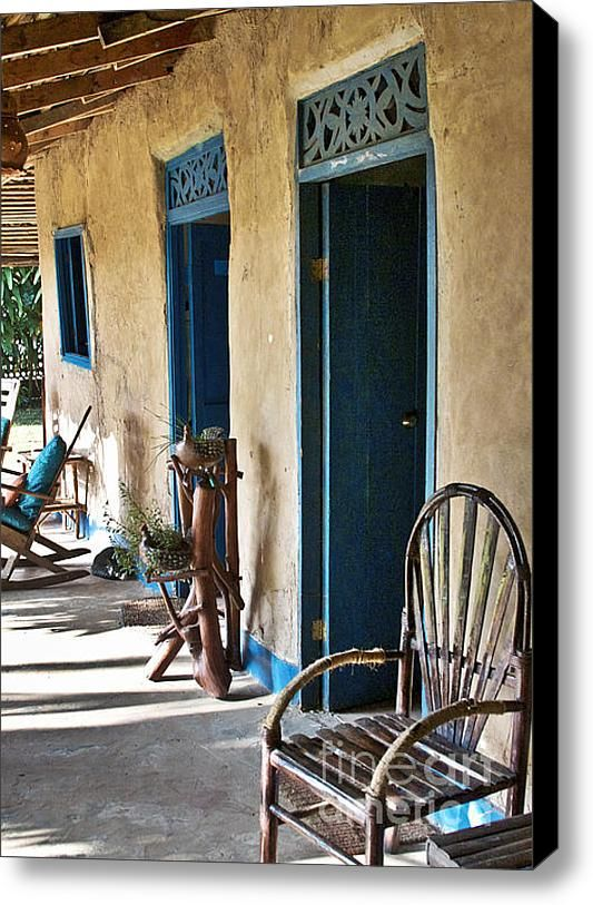 Adobe House In Panama Stretched Canvas Print / Canvas Art By Heiko Koehrer-wagner