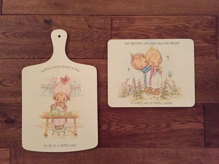 Hallmark Betsy Clark Kitchen Set, 1971, Vintage Cutting Board and Trivet Set, Hallmark Cards, Betsy Clark Collectible, Laminate, Cottage by TheGreenPaintedClock on Etsy