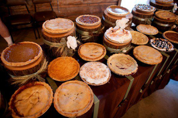 "Pie, the ultimate comfort food synonymous with the fall season is one of the hottest trends out there right now in rustic wedding desserts. Think about having a full ""pie bar"" where guests can pick their favorite flavor or end the evening by giving all your guests a mini pie to take home. - #CountryWedding #CowgirlWedding"