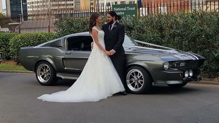 Kat & Jordan had four Shelby GT500 Eleanor's for their wedding cars