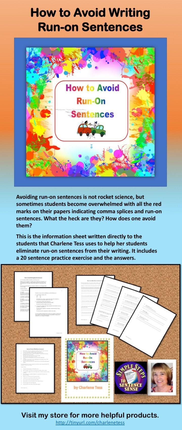 Avoid Run On Sentences In Your Writing Simplestepstosentencesense Run On Sentences Grammar Worksheets Language Arts Lessons [ 1694 x 720 Pixel ]