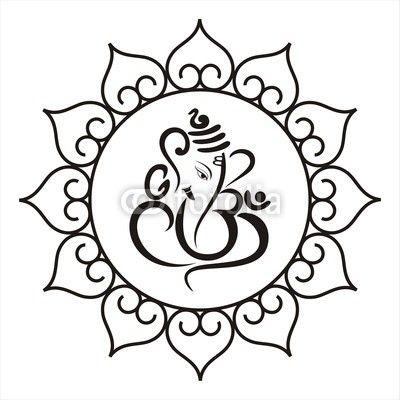 Vector: Ganesha, Hindu wedding card, royal Rajasthan, India