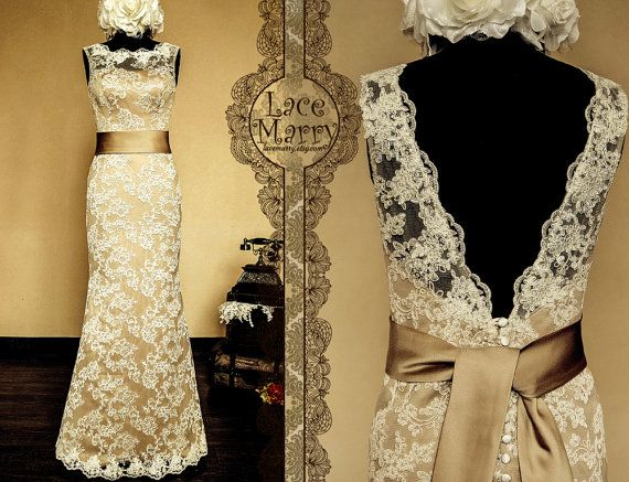 Vintage Feel Meets Stylish  Dark Champagne Underlay by LaceMarry, $274.00