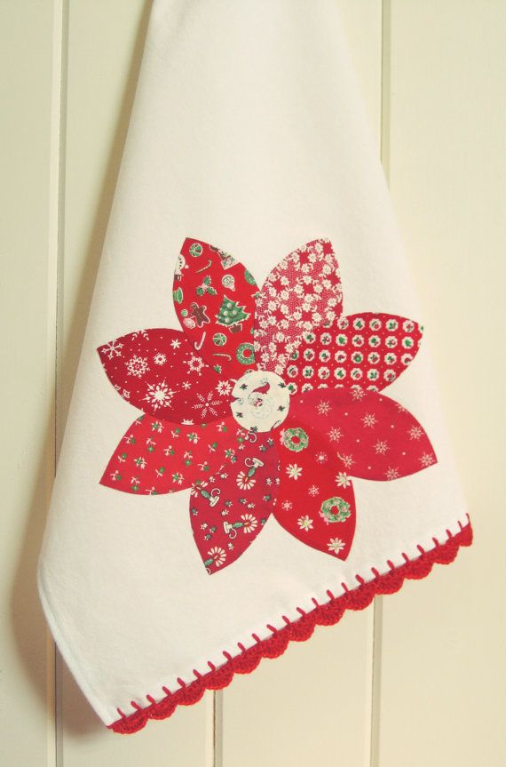 christmas poinsettia flour sack tea towel by vintagegreyhandmade
