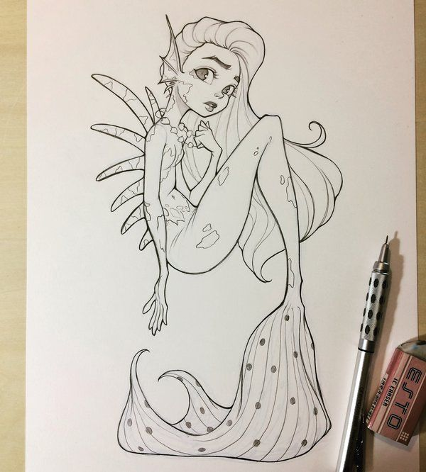 Mermaid Sketch by chrissie-zullo on DeviantArt