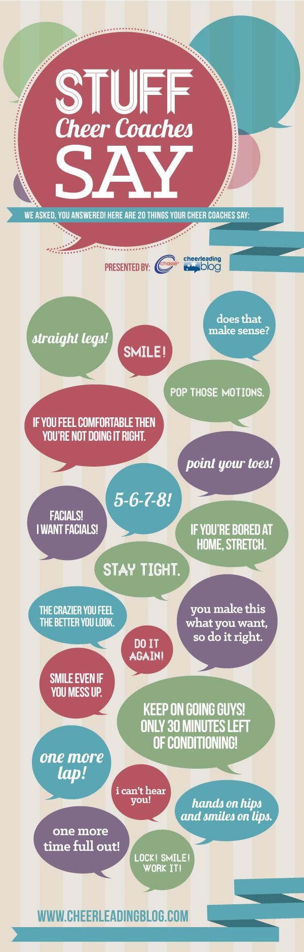 I have found myself saying almost 90% of these things lol...Stuff Cheer Coaches Say (INFOGRAPH) #cheerleading