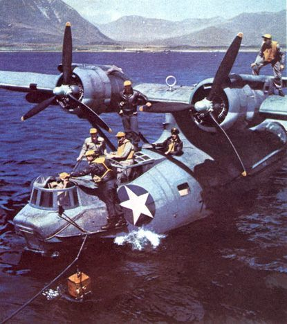 PBY-5A Catalina at rest in water.