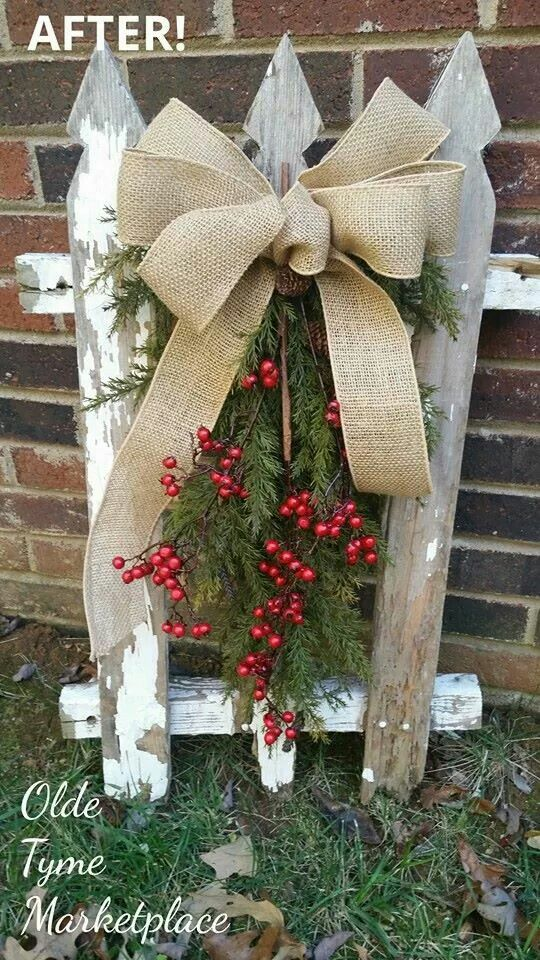 Old fence turned holiday decor