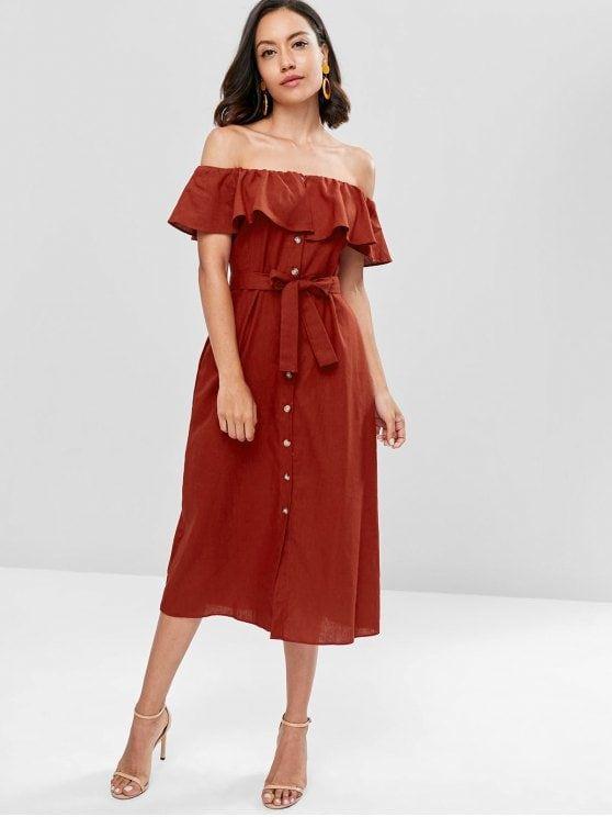afc48c4db4c4 Off The Shoulder Ruffle Midi Dress - Red Wine L