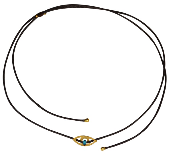 Leather Choker necklace, with a gold plated 925 silver element, in an eye shape.