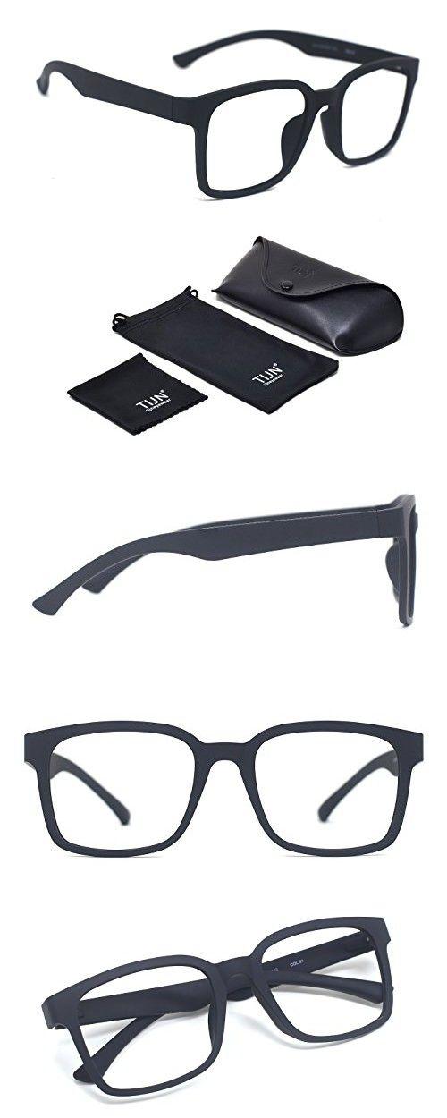b99eb9b875ac2 TIJN Square Light Glasses Frame Non Prescription Eyeglasses for Men in 2018