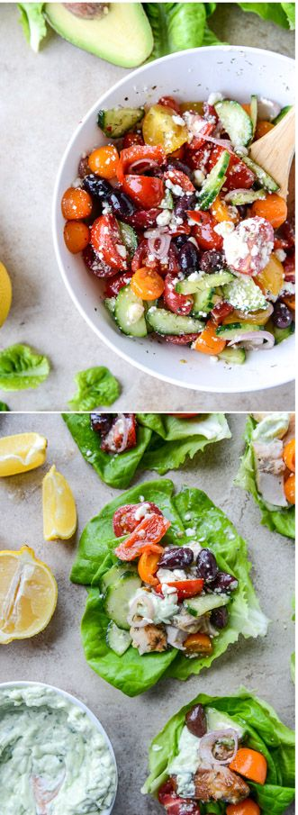 30 minute Greek Chicken Lettuce Wraps by @howsweeteats I howsweeteats.com